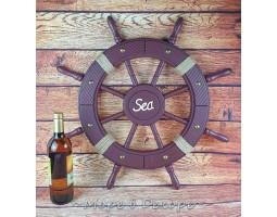 Штурвал деревянный SEA 62 см, дерево, DEEPRED