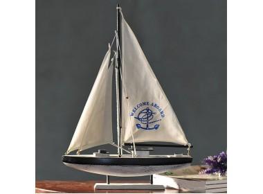 Модель яхты 64 см,  НАТУРАЛЬНОЕ дерево, парусина