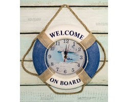 Часы настенные Спасательный круг  Оригинальные 35см синие