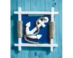 Набор декоративных морских панно, дерево, канат, 27см -4 шт.