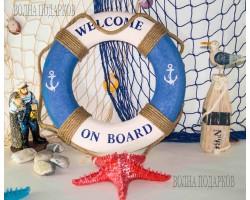 Декоративный спасательный круг 40 см Оригинальный, синий цвет