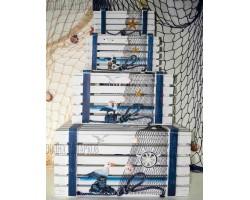 Комплект морских сундучков (4 штуки) белый цвет