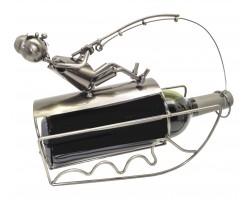 Рыболов с уловом - подставка для бутылки, металл