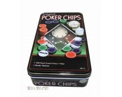 Набор 100 фишек для покера без номинала