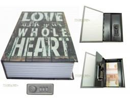Книга сейф с кодовым замком Love| 18см