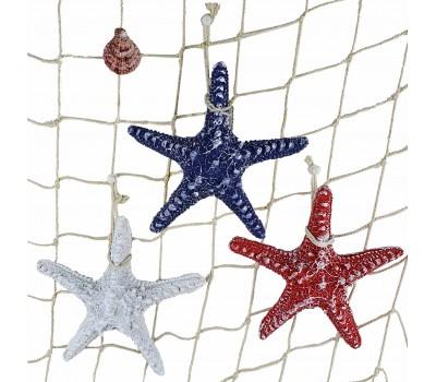 Декоративная Морская звезда 15 см (комплект 3шт) белая, синяя, красная