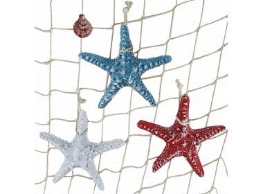 Декоративная Морская звезда 15 см (комплект 3шт) белая, голубая, красная