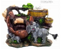 Декоративный Фонтан  Два слона, высота 20 см, подсветка