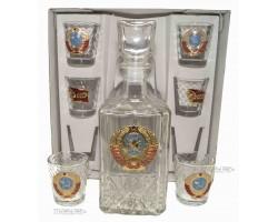 Набор Графин и 6 стопок герб СССР