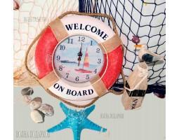 Часы настенные Спасательный круг  Оригинальные 35см красные