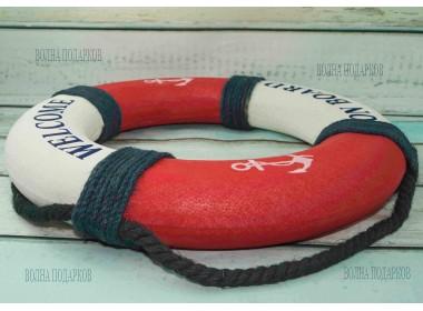 Декоративный спасательный круг 40 см Оригинальный, красный цвет