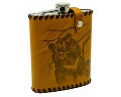 """Фляга """"Медведь"""" 0,6 литра в чехле из натуральной кожи"""