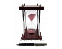 Часы песочные 5 минут розовый песок, металлические ножки