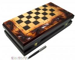 Набор игр: шахматы, шашки, нарды  40Х20 см